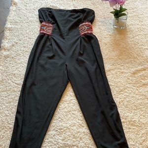 Bisou Bisou Black Strapless Jumpsuit Aztec Bead